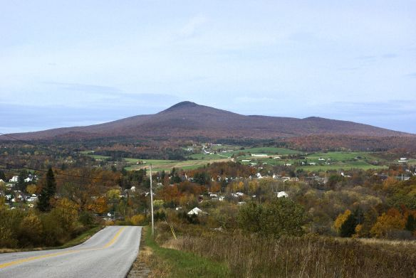Looking down into the village of Richford in Northern Vermont.