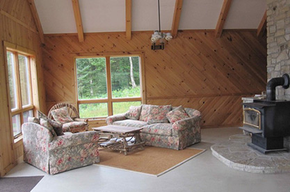 Cabin - interior view of living area.